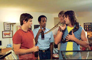 SNAKE GUYS Dean, left, and Sheridan party with a boa.