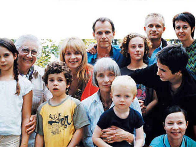 PHOTO FINISH Binoche, Berling (back row center) and the rest of the brood pose for one last family portrait.