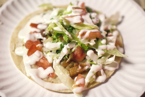 Chorizo taco at la Tortillería Mexicana Los Hermanos