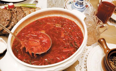 Beef borscht at Mari Vanna