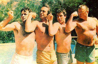 FLEX APPEAL Cassavetes, second from right, and friends show off their guns.