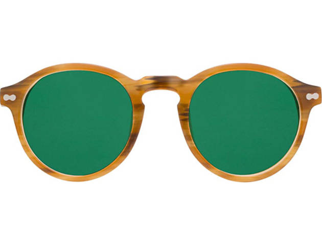 Moscot heavily rounded trifocals with colored lenses