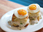 Two butter biscuits with pork-sausage gravy ($9, with two baked eggs $12)Northern Spy Food Co., 511 E 12th St between Aves A and B (212-228-5100, northernspyfoodco.com)