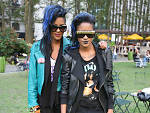 "Coco and Breezy Dotson, 20, accessories designers. Spotted in Bryant Park. ""We live in our own world,"" says Coco."