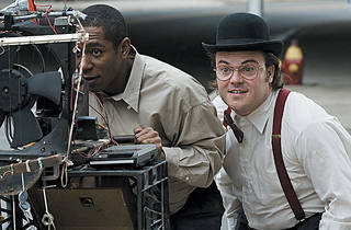 THE OLD FASHIONED WAY Mos Def, left, and Jack Black go low tech in Be Kind Rewind