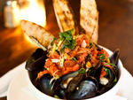 White-wine--steamed mussels at the Rabbithole