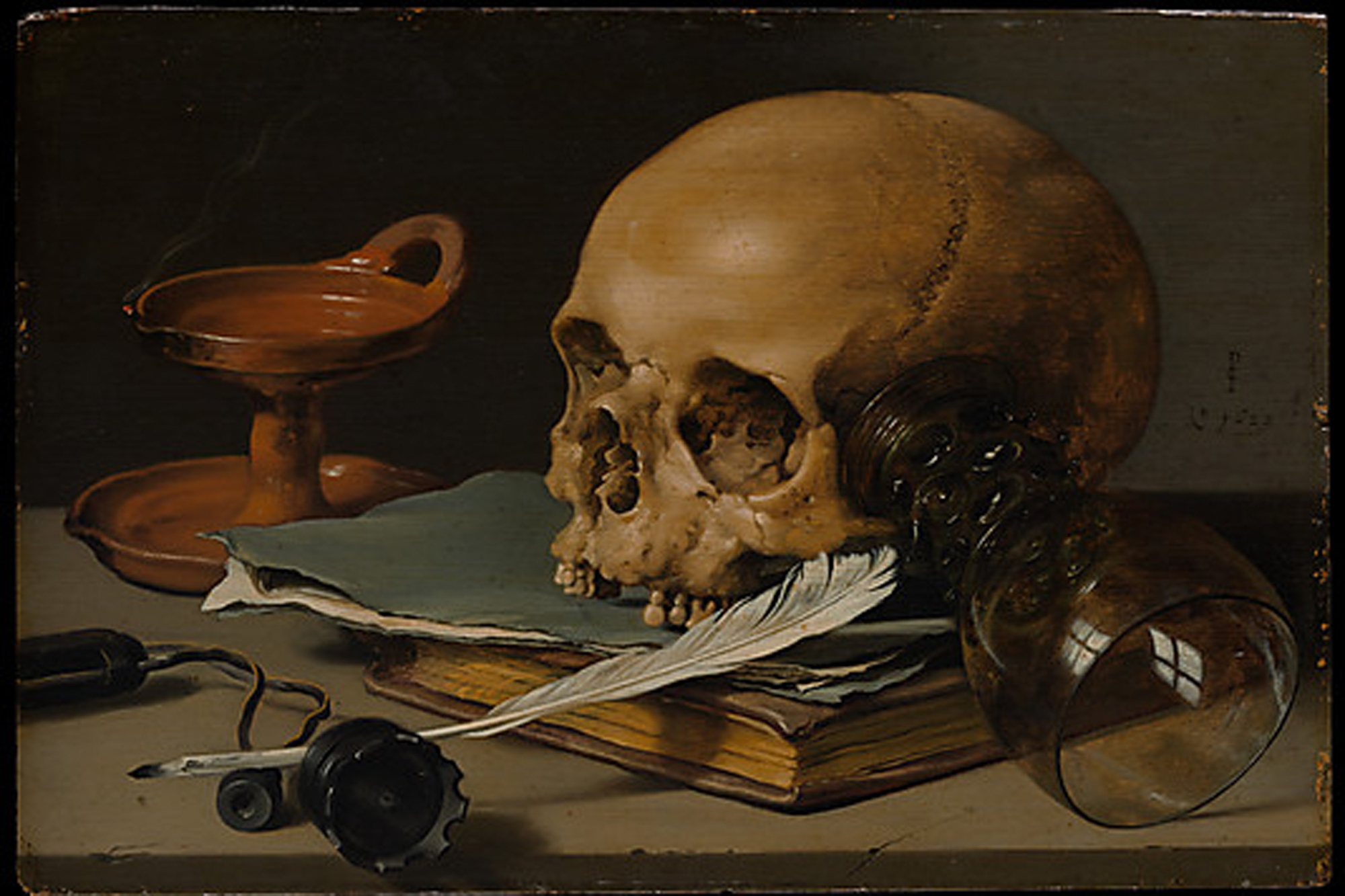 Pieter Claesz, Still Life with a Skull and a Writing Quill (1628)