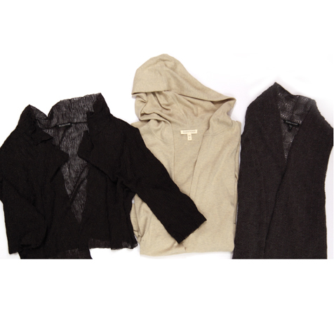 Eileen Fisher organic cotton and cashmere V-neck hooded tunics, $79 (were $158)