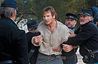 UNION JACKED Neeson struggles in vain.