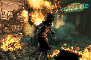 FIRE, WALK WITH ME Bioshock lights it up and burns it down.
