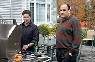 Gandolfini with Michael Imperioli on the Sopranos
