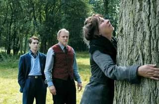 TREE HUGGER Moreau makes a friend.