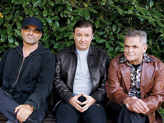 PARKLIFE Gervais, center, gets caught between George Michael and Gerard Kelly at a cruising spot.