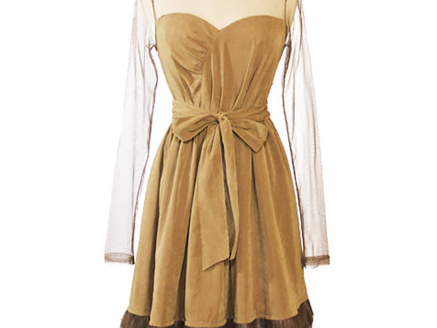 79104b27bbb 18 43 Ryu faux-suede sweetheart-neckline dress with sheer sleeves
