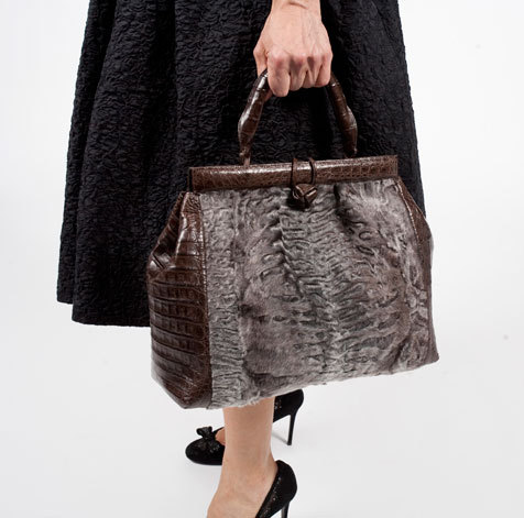 """I wish this bag could multitask and become a coat too,"" says Fargo of her astrakhan-and-crocodile Nancy Gonzalez purse, which she likens to a ""luxe..."