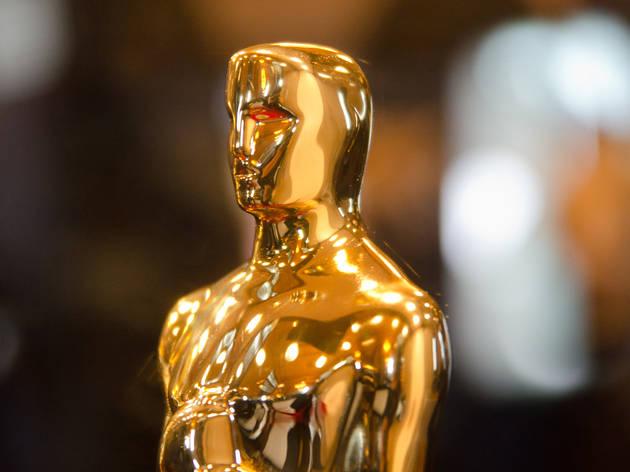 "An Oscar statue at ""Meet the Oscars"" in Grand Central."
