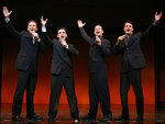 The current cast of Jersey Boys on Broadway.