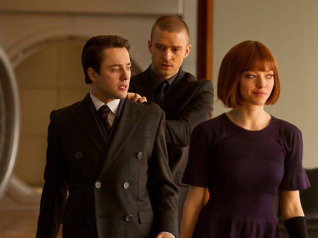 Vincent Kartheiser, left, Justin Timberlake and Amanda Seyfried in In Time