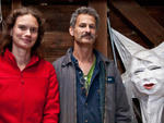 "Alex Kahn, 44, and Sophia Michahelles, 36; artistic directors of Superior Concept Monsters, official puppeteers of the Village Halloween Parade; Redhook, NYKahn: ""[Back in 2008], our procession finished, and moved on in silence---and then the crowd cheere"