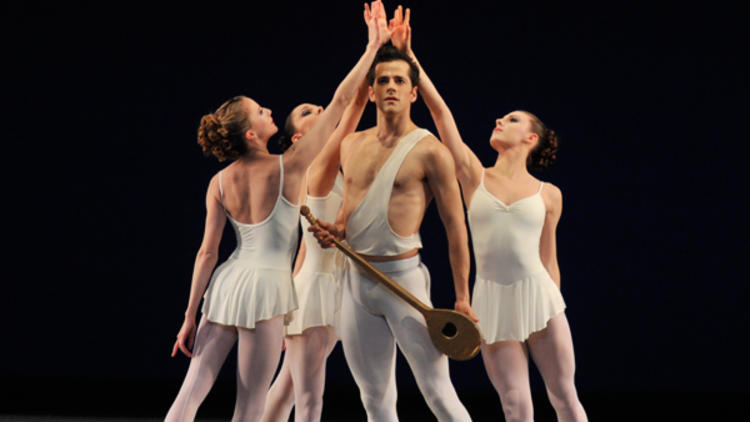 A GOD IS BORN Fairchild performs Apollo at the Kennedy Center with, from left, Sterling Hyltin, Ana Sophia Scheller and Tiler Peck.