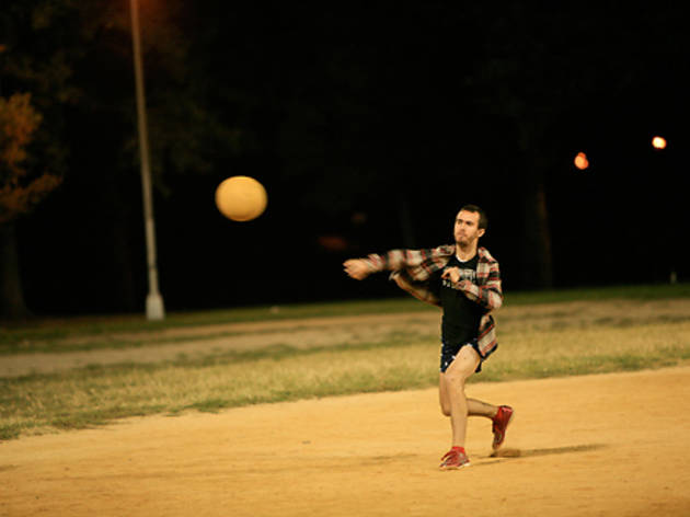 Meet people playing kickball