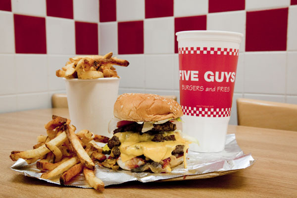 Cheeseburger at Five Guys Burgers and Fries