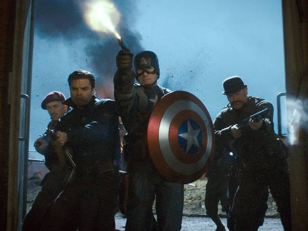 Chris Evans, center, in Captain America: The First Avenger.