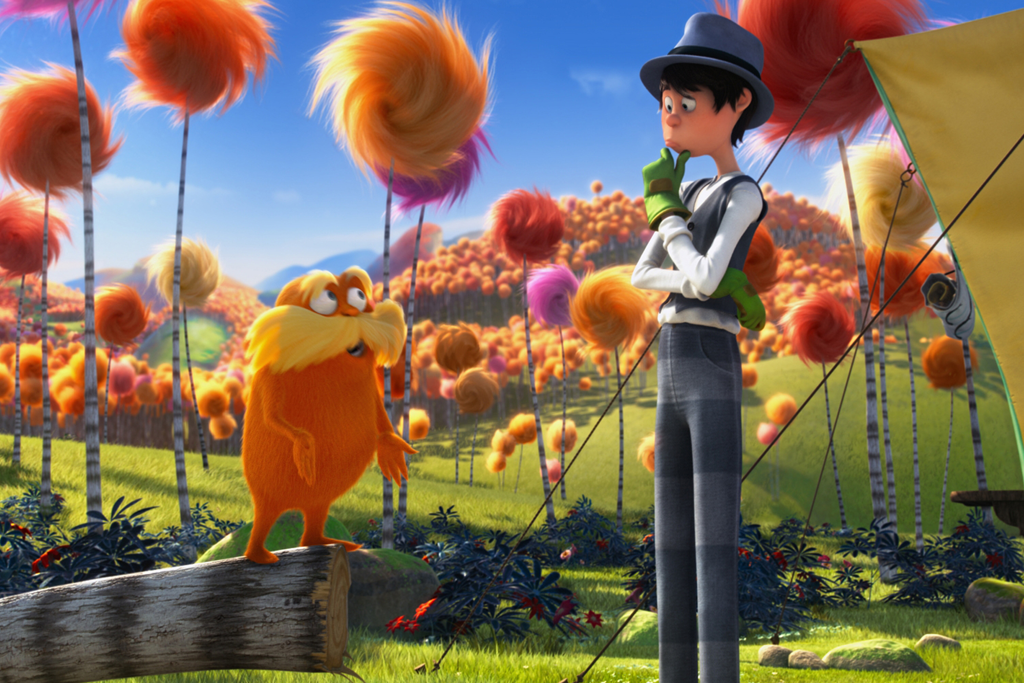 Danny DeVito and Ed Helms in Dr. Seuss's The Lorax