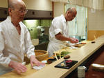 Jiro Ono, left, and Yoshikazu Ono in Jiro Dreams of Sushi