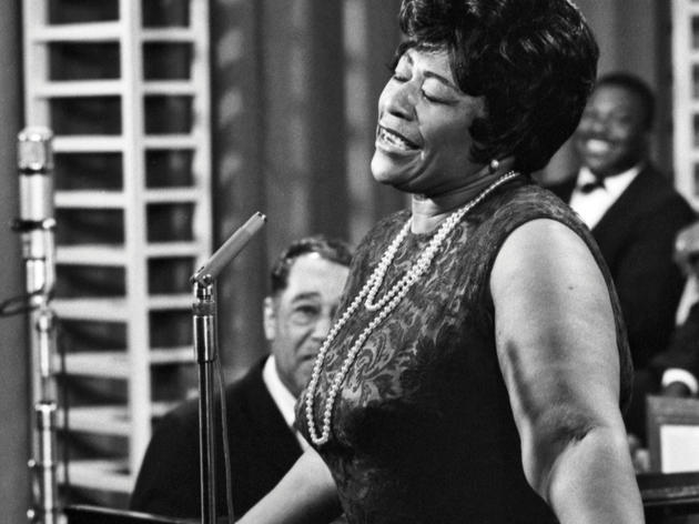 NEW YORK - MAY 1964:  Jazz singer Ella Fitzgerald performs with Duke Ellington at NBC-TV Studios in May 1964 in New York City, New York. (Photo by...