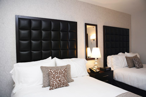 """There are grids everywhere here,"" says Distrikt GM Jennifer Rota, citing the Manhattan street layout as a key inspiration. The leather headboards..."