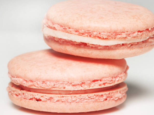 """Raspberry French macarons sold in the """"love is..."""" gift box, $45, at One Girl Cookies (68 Dean St between Boerum Pl and Smith St, Boerum Hill,..."""