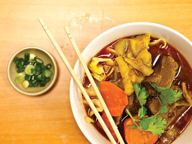 """#23 beef belly flat-noodle """"soup"""" at Grand Bo Ky"""