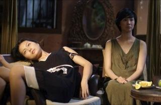 THE GIRLFRIEND EXPERIENCE Hai Yen, left, lounges with ex-flame Dan Pham.