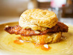 Fried chicken biscuit at Pies 'n' Thighs