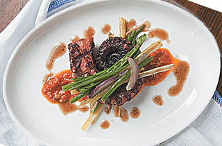 Grilled octopus with romesco and green-bean salad at Locanda Verde