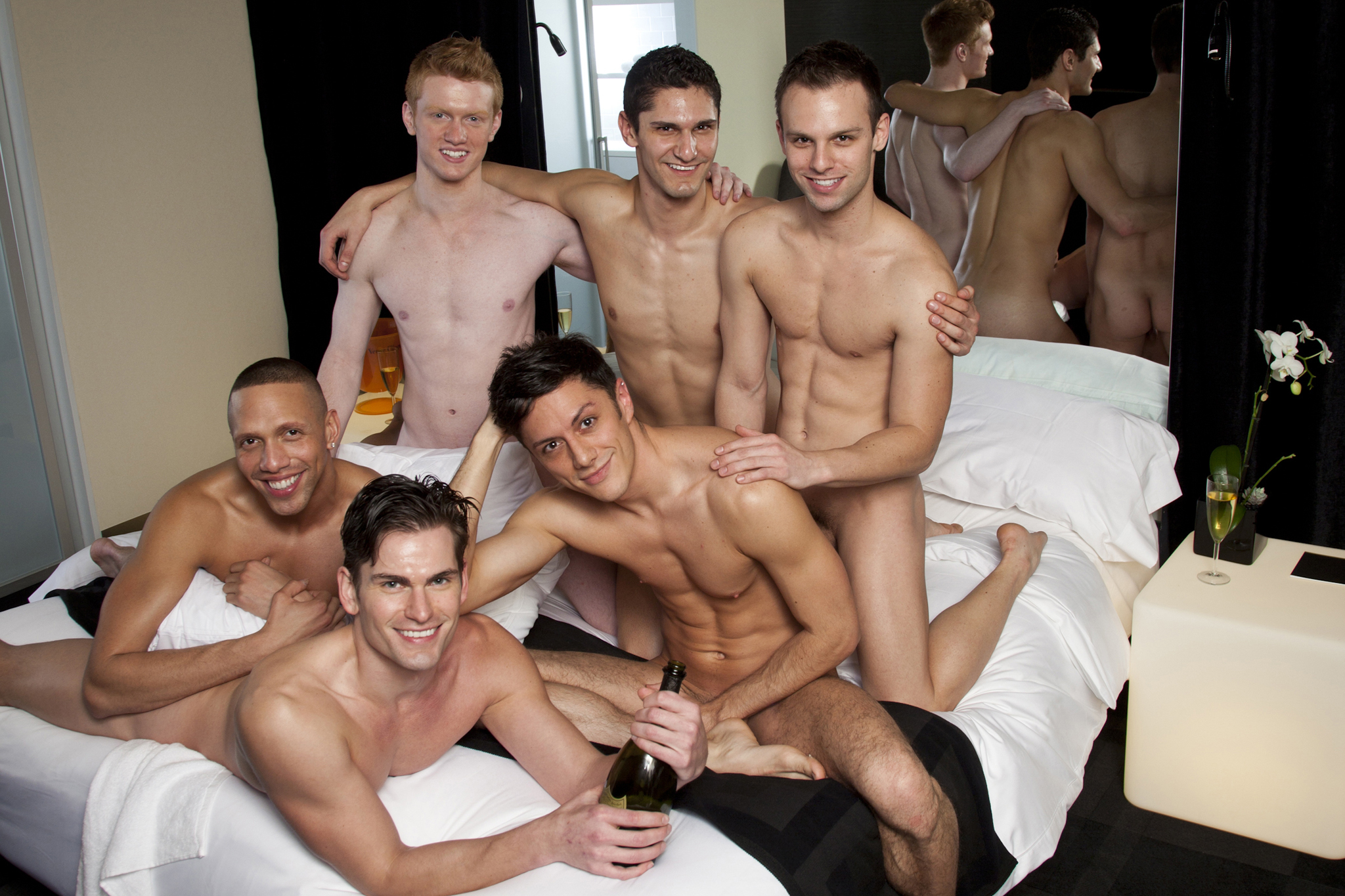 The cast of Naked Boys Singing at the OUT NYC Hotel