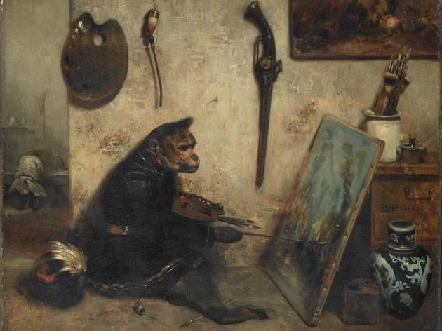 ( Alexandre Gabriel Decamps, 'Le Singe peintre' dit 'Intérieur d'atelier', ca. 1833 / © Service presse Réunion des musées nationaux - Grand Palais / Michel Urtado )