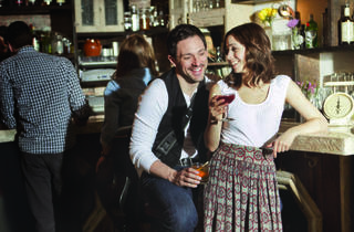 Steve Kazee and Cristin Milioti from Once at the Wayland