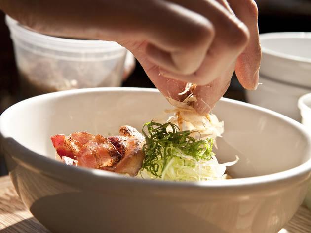 Bacon and egg mazemen at Yuji Ramen