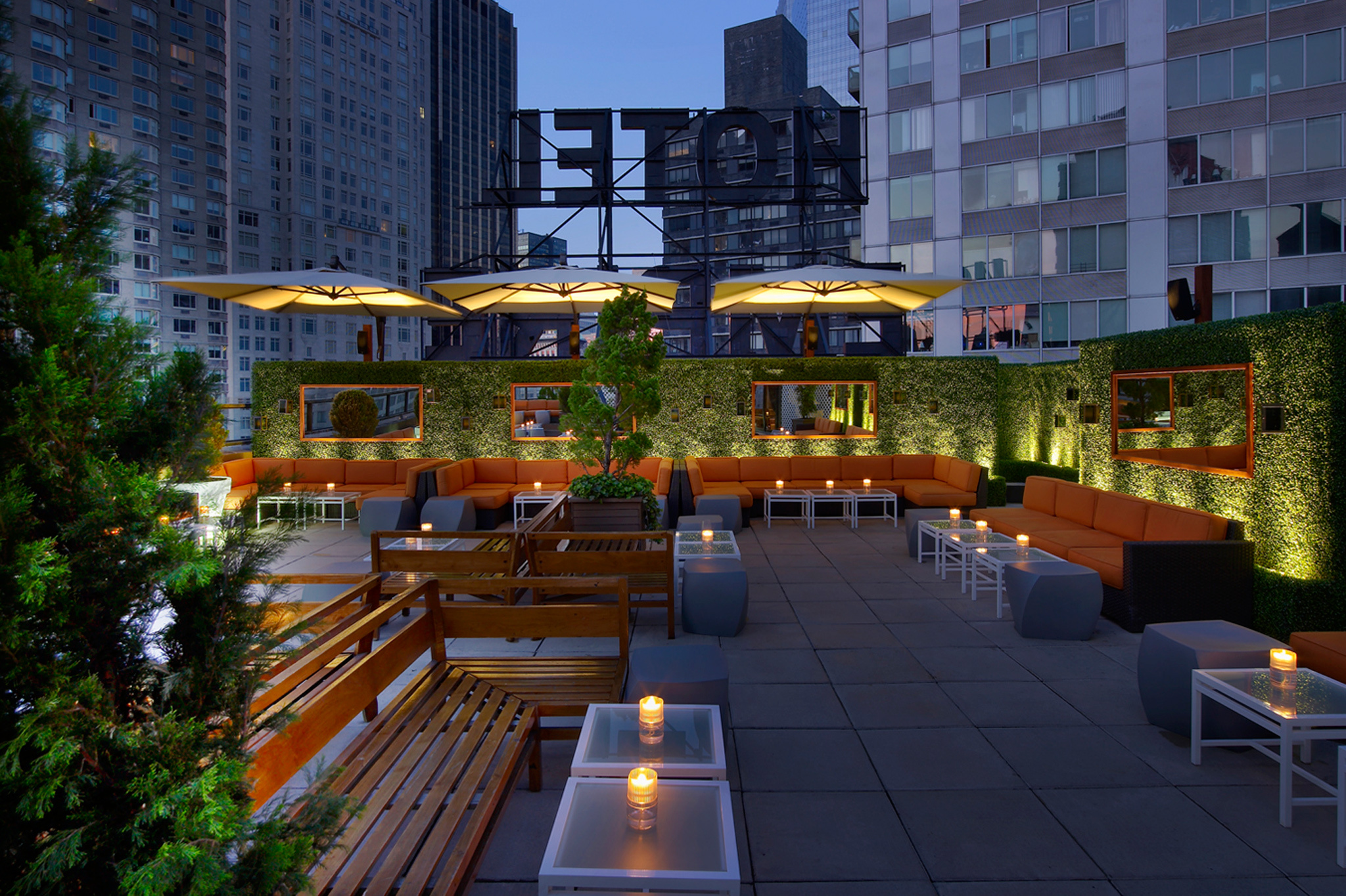 The Empire Hotel Rooftop's east terrace lounge