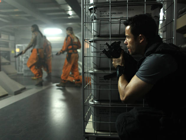 Guy Pearce, right, in Lockout