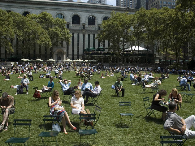 Celebrate the 20th anniversary of Bryant Park with a huge game of musical chairs