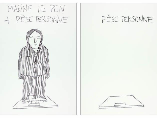 ('Marine Le Pen + Pèse personne', dessin sur papier, 2012 / Courtesy Philippe Katerine)