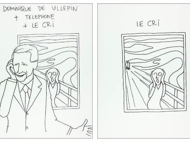 ('Dominique de Villepin + Le cri', dessin sur papier, 2012 / Courtesy Philippe Katerine)