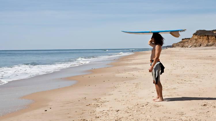 Surfer on a Montauk beach