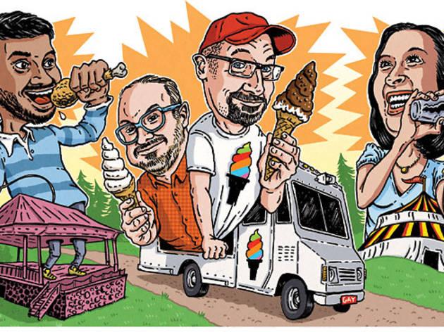 From left: Aziz Ansari, Bryan Petroff and Doug Quint of Big Gay Ice Cream, Julie Reiner