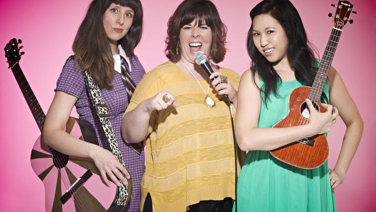 Jessica Delfino, Carolyn Castiglia and Jen Kwok of the NY Funny Songs Festival