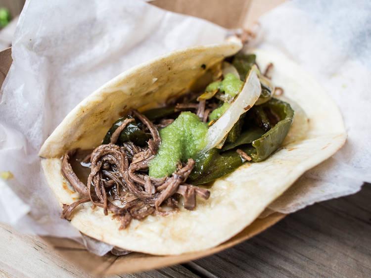 Tacos: Brisket taco at Güeros Brooklyn