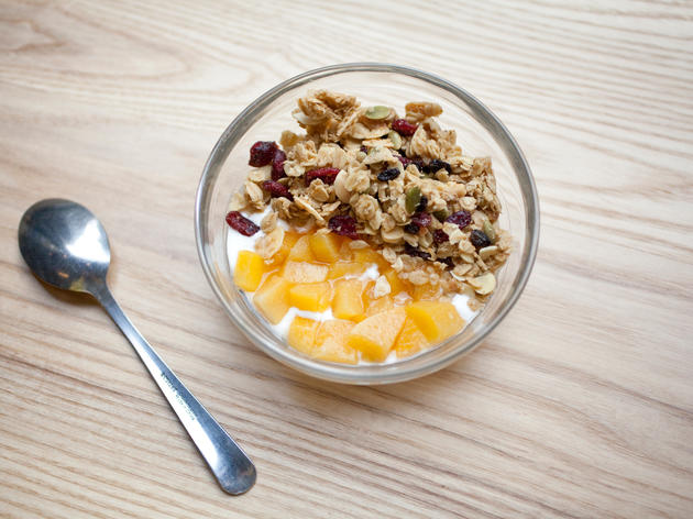 House-made yogurt with granola and seasonal fruit compote at One Girl Cookies